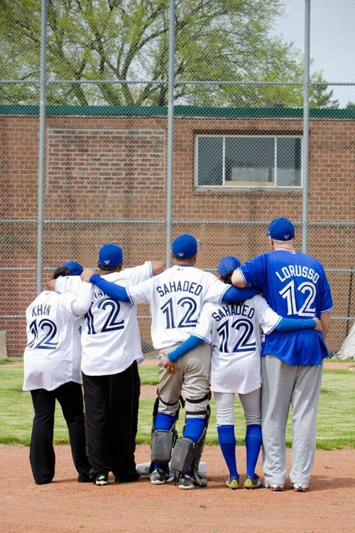 baseball themed engagement shoot Toronto blue jays