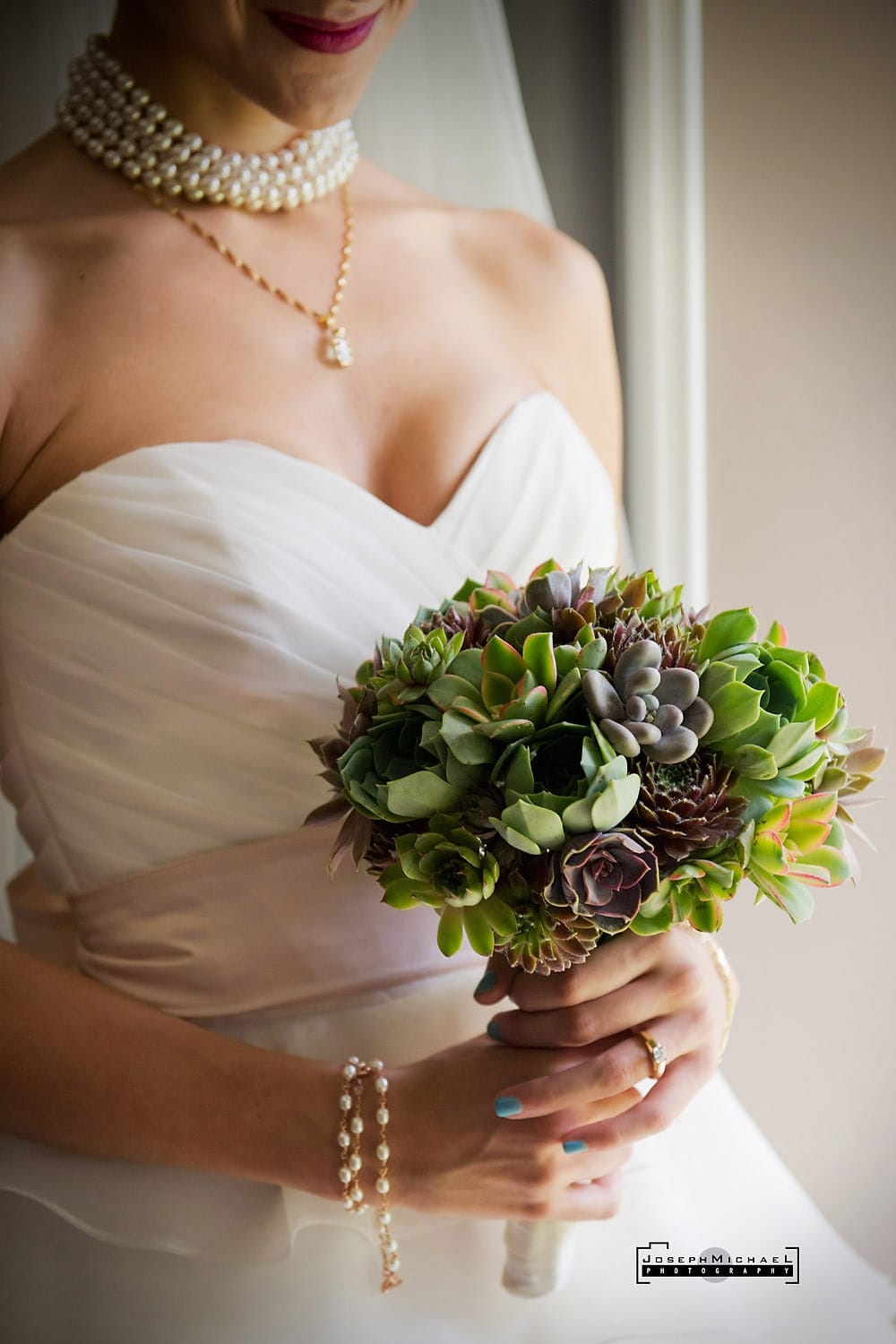 Bouquet with only succulents wedding photography