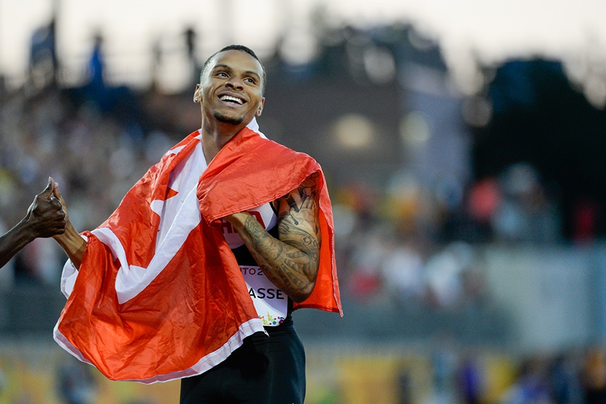 Andre De Grasse of Canada finishes first in the men's 100m final on Wednesday at the CIBC Athletics Stadium as part of the Pan Am Games 2015 in Toronto.