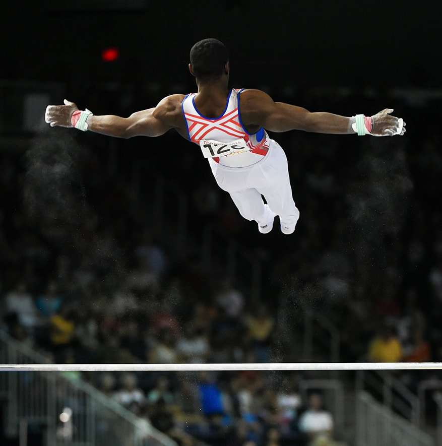 Manrique Larduet of Cuba participates in the horizontal bar final at the Toronto 2015 Pan Am Games.