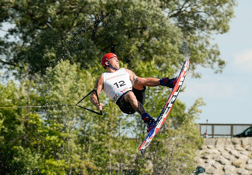 Rusty Malinoski of Canada competes in the Wakeboard finals of the Pan Am Games in Toronto on Wednesday.  Rusty finished first to win the gold medal.