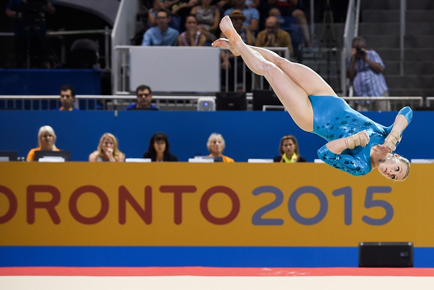 Ellie Black of team Canada competes in the floor event of the Women's All Around Final at the Toronto Coliseum on Monday.  Ellie Black finished with the gold.