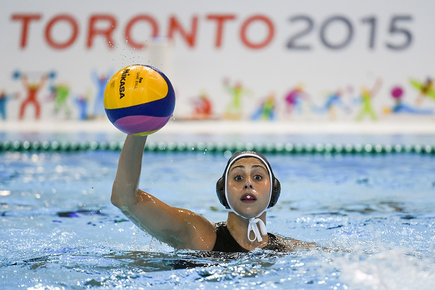 Joelle Bekhazi of team Canada competes in the women's water polo gold medal match against the United States.  USA defeated team Canada 13-4.