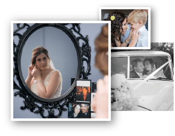 Wedding photo collage with three beautiful photos