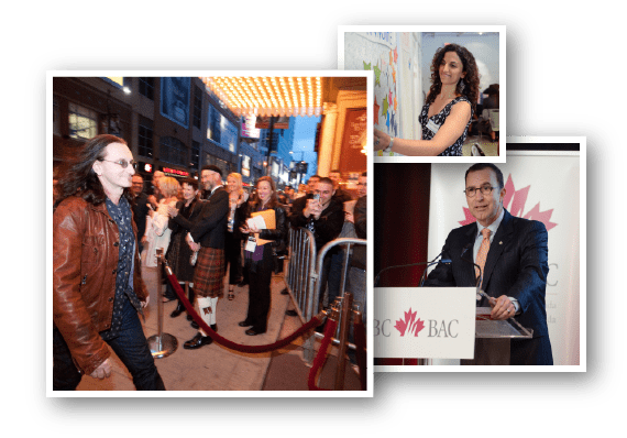 Photo collage of Toronto corporate events in three different business venues