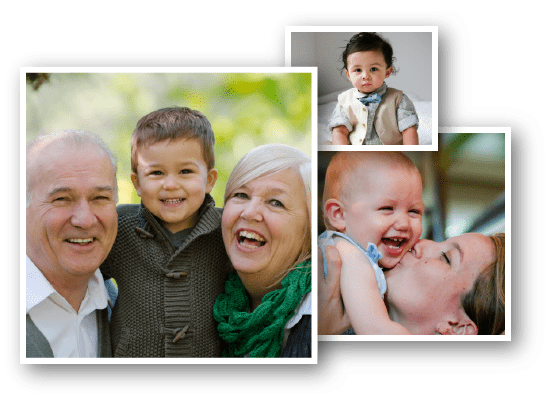 Family photograph collage with three album photos of children, grandparents, and babies