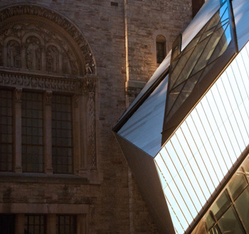 Photograph of a section of the Toronto Royal Ontario Museum's modern architecture