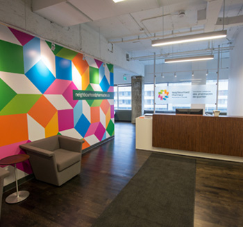 Photo of a trendy corporate office in downtown Toronto Ontario Canada